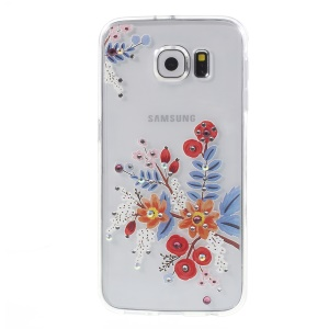 For Samsung Galaxy S6 G920 Plastic + TPU Case Embossed Pattern - Beautiful Flowers Drawing