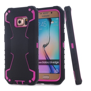 3-in-1 PC + Silicone Hybrid Cover for Samsung Galaxy S6 edge G925 - Black / Rose