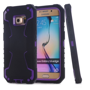 Snap-on PC + Silicone Phone Case for Samsung Galaxy S6 edge G925 - Black / Purple