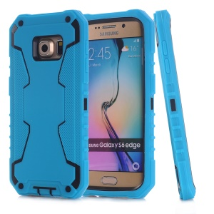 Snap-on PC + Silicone Phone Shell for Samsung Galaxy S6 edge G925 - Blue / Rose