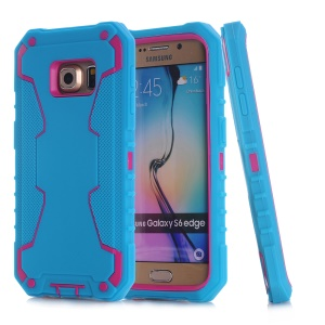 3-in-1 PC + Silicone Hybrid Cover for Samsung Galaxy S6 edge G925 - Green / Rose