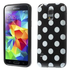 Polka Dots Soft TPU Case for Samsung Galaxy S5 mini G800 - White Dots / Black