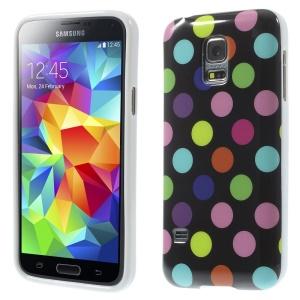 Polka Dots TPU Gel Case for Samsung Galaxy S5 mini G800 - Colorful Dots / Black