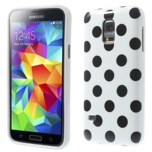 Polka Dots Soft TPU Cover for Samsung Galaxy S5 mini G800 - Black Dots / White