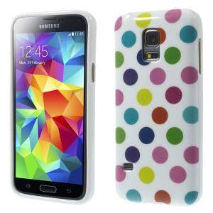 Polka Dots TPU Skin Case for Samsung Galaxy S5 mini G800 - Colorful Dots / White