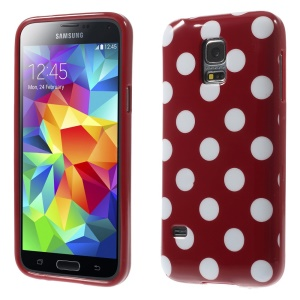 Polka Dots TPU Shell Cover for Samsung Galaxy S5 mini G800 - White Dots / Red