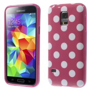 Polka Dots TPU Back Case for Samsung Galaxy S5 mini G800 - White Dots / Rose