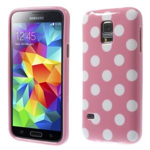 Polka Dots TPU Gel Cover for Samsung Galaxy S5 mini G800 - White Dots / Pink
