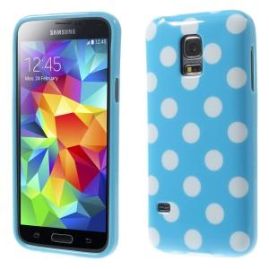 Polka Dots TPU Cover Case for Samsung Galaxy S5 mini G800 - White Dots / Blue