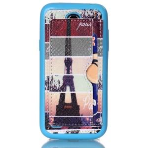 Leather Coated TPU Back Case for Samsung Galaxy S4 mini I9190 I9192 I9195 - Paris Eiffel Tower