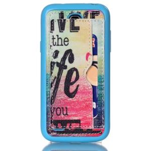 Leather Coated Card Slot TPU Back Case for Samsung Galaxy S4 mini I9190 - Live the Life You Love