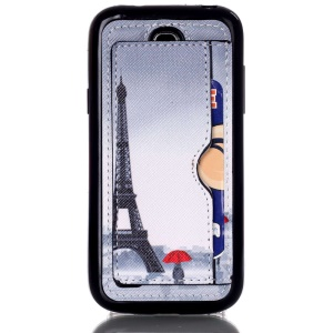 Leather Coated TPU Cover for Samsung Galaxy S4 mini I9195 - Eiffel Tower and Woman Holding Umbrella