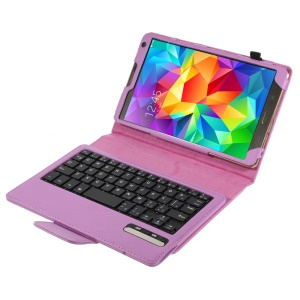 Purple for Samsung Galaxy Tab S 8.4 T700 T705 Leather Flip Cover Bluetooth Keyboard w/ Stand