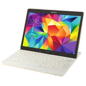 Slim Aluminum Wireless Bluetooth Keyboard Case for Samsung Galaxy Tab S 10.5 T800 T805 - White
