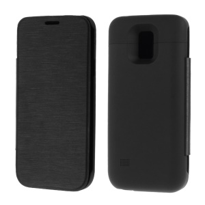 Black 3000mAh Leather Flip External Battery Power Bank Case for Samsung Galaxy S5 Mini G800