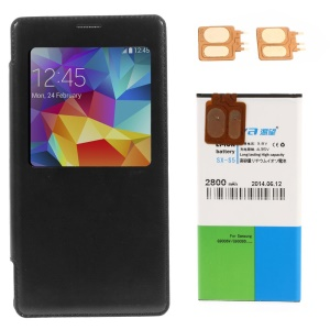 KEVA Battery Case Flip Cover with Backup Battery & 2 FPC for Samsung Galaxy S5 - Black
