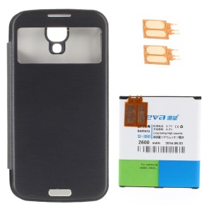 KEVA 2400mAh Flip Battery Case w/ 2600mAh Backup Battery & 2 FPC for Samsung Galaxy S4 i9500 - Black