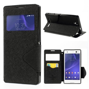 Roarkorea Diary View Leather Case w/ Stand & Card Slot for Sony Xperia C3 D2533 / C3 Dual D2502 - Black
