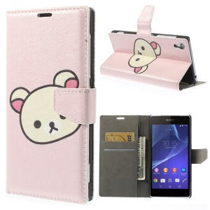 Cute Rilakkuma Silk Texture Leather Stand Case w/ Wallet for Sony Xperia Z2 D6503 D6502 D6543