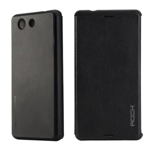 ROCK Vogue Series Folio Leather Case for Sony Xperia Z3 Compact D5803 M55w - Black