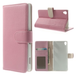 Pink Litchi Grain Wallet Leather Stand Case for Sony Xperia Z3 D6653 D6603