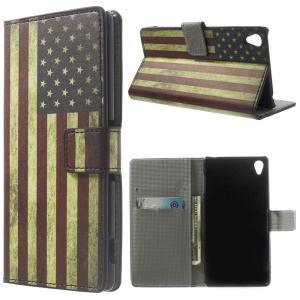 Retro American Flag Wallet Stand Leather Phone Case for Sony Xperia Z3 D6653 D6603