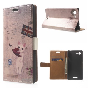 Cat Holding Hat & Union Jack Leather Wallet Case w/ Stand for Sony Xperia E3 D2203 D2206 / E3 Dual SIM