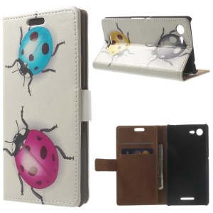 Leather Flip Card Holder Case for Sony Xperia E3 D2203 D2206 - Colored Ladybugs
