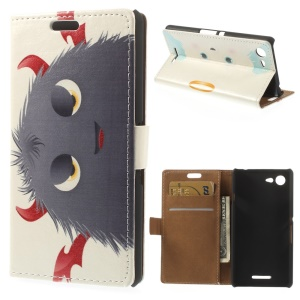 Devils Horns Hairy Doll Stand PU Leather Wallet Cover for Sony Xperia E3 D2203 D2206 / E3 Dual SIM