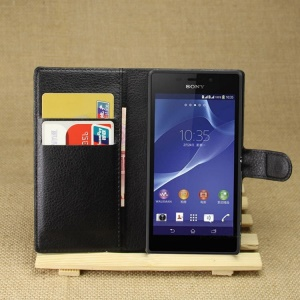 Lychee texture Stand Leather Wallet Case for Sony Xperia M2 D2303 / M2 Dual D2302 - Black