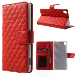 Magnetic Rhombus PU Leather Stand Case Wallet for Sony Xperia Z3 D6653 D6603 - Red