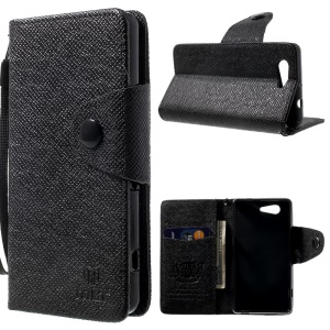 MLT Wallet Leather Stand Case for Sony Xperia Z3 Compact D5803 M55w - Black