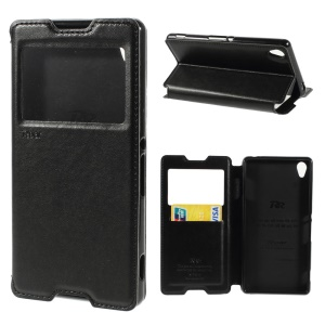 ROAR KOREA Noble Window View Leather Stand Case w/ Card Slot for Sony Xperia Z3 D6653 D6603 - Black