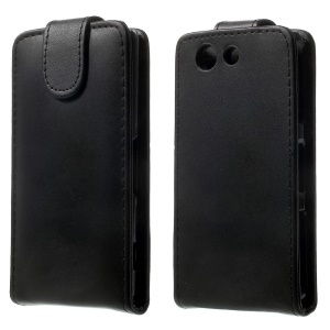 Black Vertical Leather Magnetic Case for Sony Xperia Z3 Compact D5803 M55w