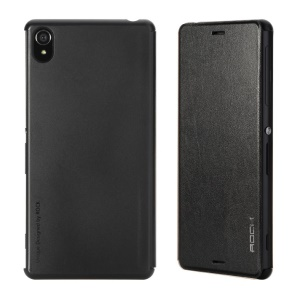 ROCK Vogue Series Leather Folio Case for Sony Xperia Z3 D6653 D6603 - Black