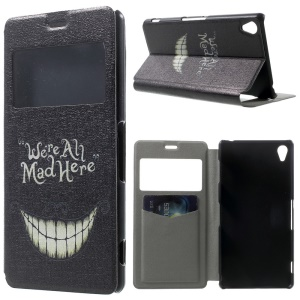 We are All Bad Here Pattern Window View Leather Stand Case w/ Perfume Smell for Sony Xperia Z3 D6603 D6653