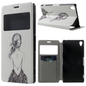 Naked Girl Window View Leather Stand Cover w/ Perfume Smell for Sony Xperia Z3 D6603 D6653