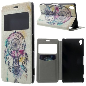 Dream Catcher Window View Stand Leather Cover w/ Perfume Smell for Sony Xperia Z3 D6603 D6653