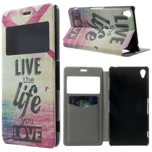 Quote Live the Life You Love Window View PU Leather Case w/ Perfume Smell for Sony Xperia Z3 D6603 D6653