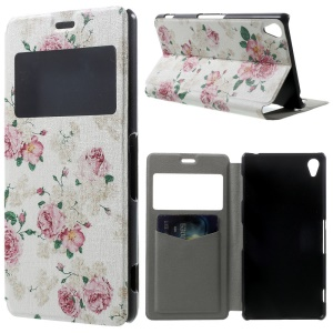 Elegant Flowers Window View PU Leather Cover w/ Perfume Smell for Sony Xperia Z3 D6603 D6653