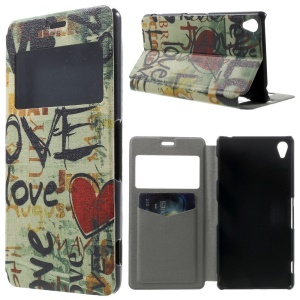 Red Heart Window View Leather Stand Case Cover w/ Perfume Smell for Sony Xperia Z3 D6603 D6653