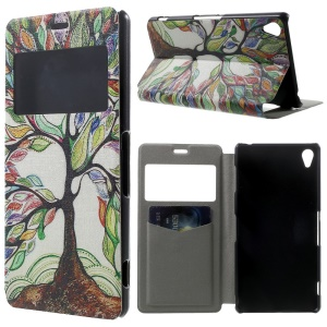 Colorized Trees Window View Leather Stand Cover w/ Perfume Smell for Sony Xperia Z3 D6603 D6653