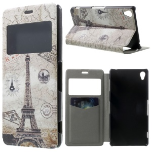 Paris Eiffel Tower Window View Leather Stand Cover w/ Perfume Smell for Sony Xperia Z3 D6603 D6653