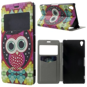 Adorable Owl Window View Leather Stand Case w/ Perfume Smell for Sony Xperia Z3 D6603 D6653