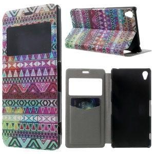 Tribe Triangles Window View Leather Stand Cover w/ Perfume Smell for Sony Xperia Z3 D6603 D6653