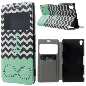 Anchor & Stripes Window View Leather Stand Cover w/ Perfume Smell for Sony Xperia Z3 D6603 D6653