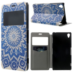 Mandala Flowers Window View Leather Stand Cover w/ Perfume Smell for Sony Xperia Z3 D6603 D6653