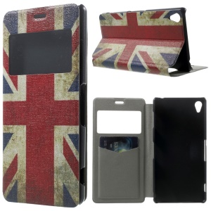 Vintage Union Jack Flag Window View Leather Stand Cover w/ Perfume Smell for Sony Xperia Z3 D6603 D6653