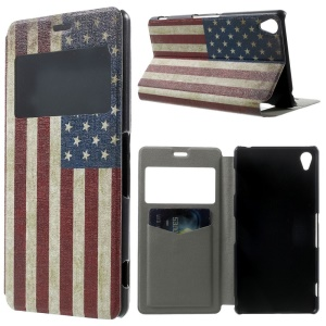 Retro American Flag Window View PU Leather Stand Cover w/ Perfume Smell for Sony Xperia Z3 D6603 D6653