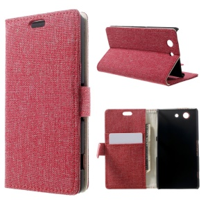Linen Skin Flip Leather Case w/ Card Slots for Sony Xperia Z3 Compact D5803 M55w - Red